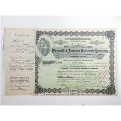 Prescott & Eastern Railroad Co., 1918 Issued Stock Certificate.