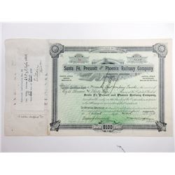 Santa Fe, Prescott and Phoenix Railway Co., 1895 Issued Stock Certificate.