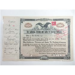 California, Arizona and Santa Fe Railway Co., 1920 Issued Stock Certificate.