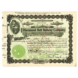 Hammond Belt Railway Co., 1923 Issued Stock Certificate
