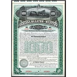 Indiana, Decatur and Western Railway Co., 1895, $1000 Specimen Bond.