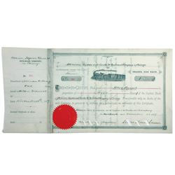 Atchinson, Topeka and Santa Fe Railroad Company in Chicago, 1889 Issued Stock Certificate.