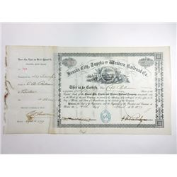 Kansas City, Topeka and Western Railroad Co., 1879 Issued Stock Certificate.