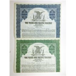 Texas and Pacific Railway Co., 1923 Pair of Specimen Bonds