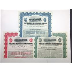Texas and Pacific Railway Co., 1945 Trio of Specimen Bonds