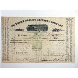Southern Pacific Railroad Co., 1857 Issued Stock Certificate