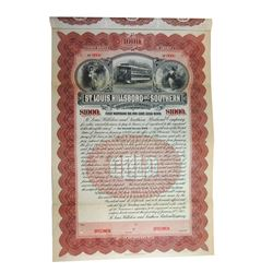 St.Louis, Hillsboro and Southern Railroad Co., 1903 Specimen 6% Gold Coupon Bond.