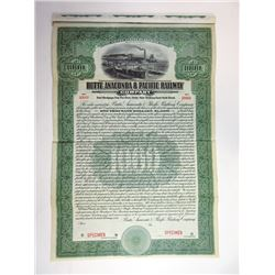 Butte, Anaconda & Pacific Railway Co. 1914 Specimen Bond.