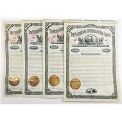 Pennsylvania, Slatington and New England Rail Road Co., 1882 6% Coupon Bond Quartet.