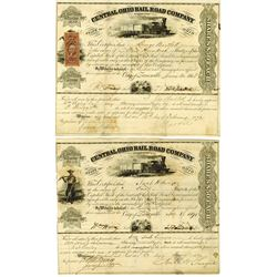 Central Ohio Rail Road Co. As Reorganized, 1868-1871 Issued Stock Certificate