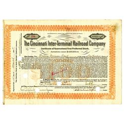 Cincinnati Inter-Terminal Railroad Co., 1908 Issued Stock Certificate