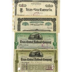 Texas Railroad Cancelled Stock Certificate Quartet, ca.1897-1906