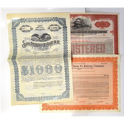 Trio of Railroad Related Bond Certificates ca.1897-1953