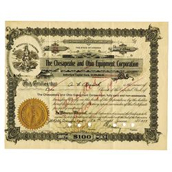 Chesapeake and Ohio Equipment Corp., 1919 Issued Stock Certificate