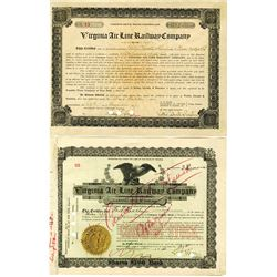 Virginia Air Line Railway Co., 1906-1910 Issued Pair of Stock Certificate