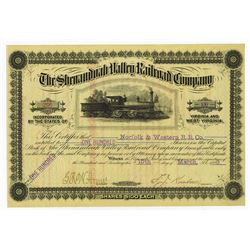 Shenandoah Valley Railroad Co., 1888 Issued Stock Certificate.
