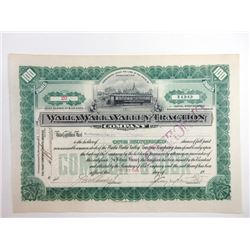 Walla Walla Valley Traction Co., 1906 Issued Stock Certificate.