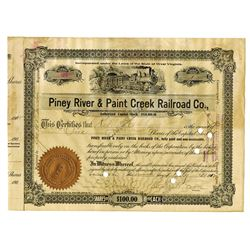 Piney River & Paint Creek Railroad Co., 1912 Issued Stock Certificate