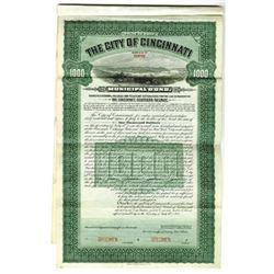 City of Cincinnati Municipal Bond, 1905 Specimen Bond