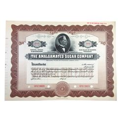 Amalgamated Sugar Co., ca.1900-1910 Specimen Stock Certificate.