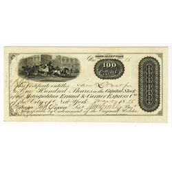 Metropolitan Errand & Carrier Express Co., 1856, 100 Shares I/U Stock Certificate, Issued Private Ca