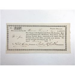 Westminster, Taney-Town, and Emmitsburg Turnpike Road, 1816 Issued Stock Certificate
