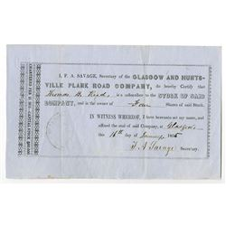 Glasgow and Huntsville Plank Road Co., 1855 Issued Stock Certificate