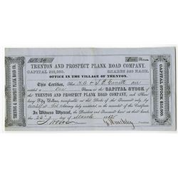 Trenton and Prospect Plank Road Co. 1852 Issued Stock Certificate