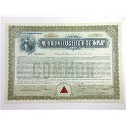 Northern Texas Electric Co., 1913 Issued Stock Certificate