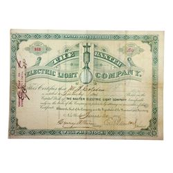 Baxter Electric Light Co., 1884 I/U Stock Certificate.