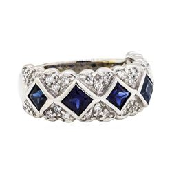 18KT White Gold 1.50 ctw Sapphire and Diamond Ring