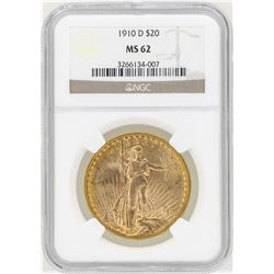 1910-D $20 St. Gaudens Double Eagle Gold Coin NGC MS62