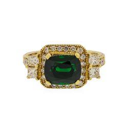 14KT Yellow Gold 3.84 ctw Tsavorite and Diamond Ring