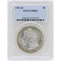 1921-D $1 Morgan Silver Dollar Coin PCGS MS64