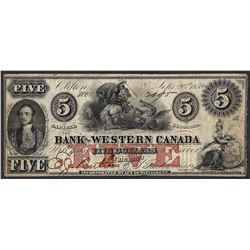 1859 $5 The Bank of Western Canada Dragon Obsolete Note- Pinholes
