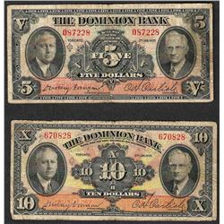 Set of 1935 $5 & $10 The Dominion Bank Toronto Note
