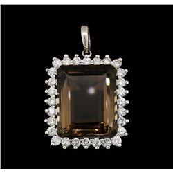 14KT White Gold 38.51 ctw Smoky Quartz and Diamond Pendant