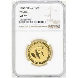 1988 China 50 Yuan Gold Panda Coin NGC MS67