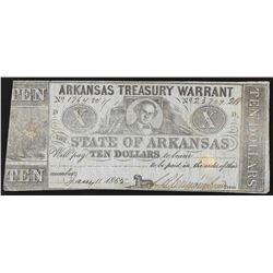 1865 $10 State of Arkansas Treasury Warrant Note