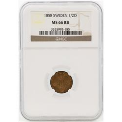 1858 Sweden 1/2 Ore Coin NGC MS66RB