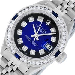 Rolex Ladies Stainless Steel Blue Vignette Diamond and Sapphire Datejust Wristwa