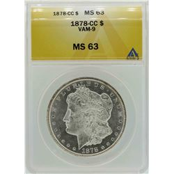 1878-CC $1 Morgan Silver Dollar Coin VAM-9 ANACS MS63