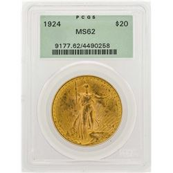 1924 $20 Saint Gaudens Double Eagle Gold Coin PCGS MS62