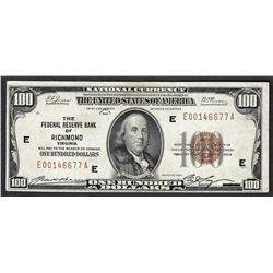 1929 $100 Federal Reserve Bank of Richmond Note