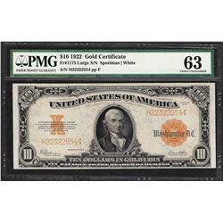 1922 $10 Gold Certificate Note Fr.1173 PMG Choice Uncirculated 63