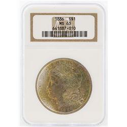 1886 $1 Morgan Silver Dollar Coin NGC MS63 Great Toning