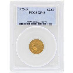 1925-D $2 1/2 Indian Head Quarter Eagle Gold Coin PCGS XF45
