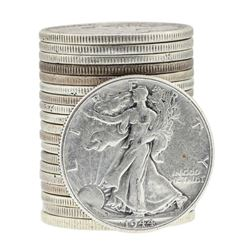 Roll of (20) Assorted Date Walking Liberty Half Dollar Coins Circulated