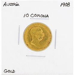 1908 Austria 10 Corona Gold Coin