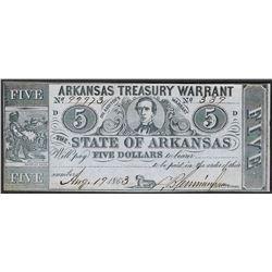 1863 $5 Arkansas Treasury Warrant Obsolete Note
